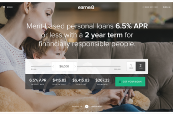 Earnest Personal Loan Homepage Screenshot