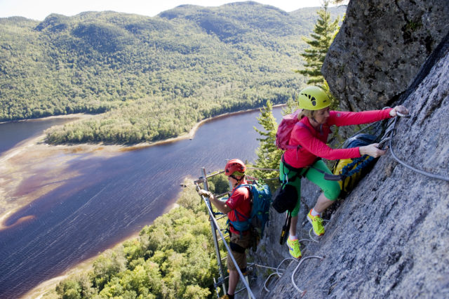 Via Ferrata at the Parc national du Fjord-du-Saguenay, Quebec; photo credit: Darryl Leniuk